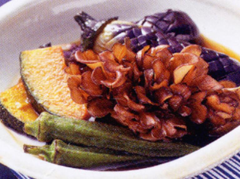 舞茸と夏野菜の揚げびたし